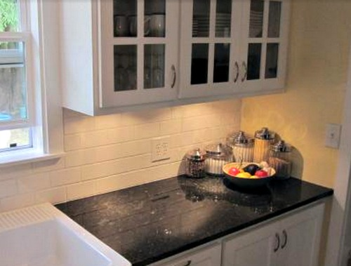 Glazed Kitchen Cabinets with Task Lighting