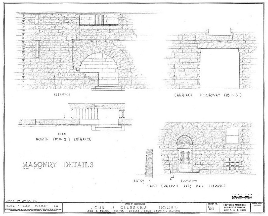 Detail Drawings of the Glessner Home - Henry Hobson Richardson