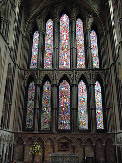 Gothic Arches form a large arch window in Worcester Cathedral