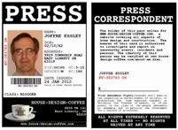 My Press Pass as a writer for House-Design-Coffee