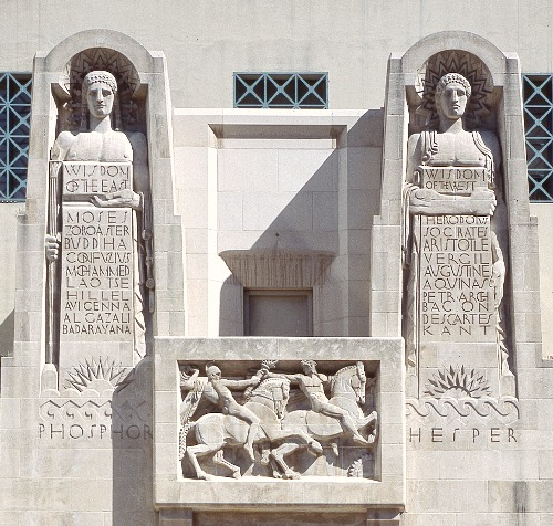 Statues in front of LA Public Library.