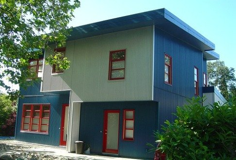 A modern house with industrial metal siding