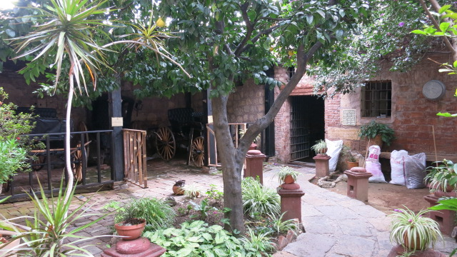 A courtyard of a traditional Mexican house in the city of Morelia