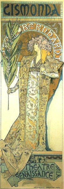 Alphonse Mucha created quite a stir with this poster of actress Sarah Bernhardt