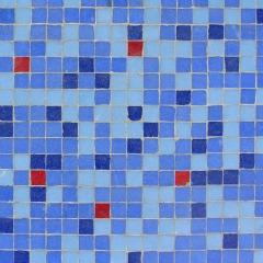 Bathroom floor tile pattern using mix of blues with red pop - bathroom tile design ideas