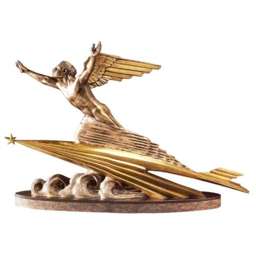 Art Deco sculpture called Speed with a winged man riding a comet by Focht