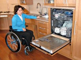 A raised dishwasher makes for a more accessible kitchen