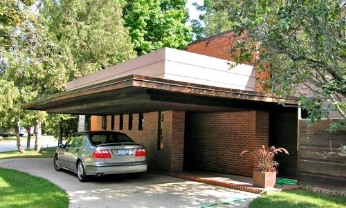 Car port on the side of the Bernard Schwarz house designed by Frank Lloyd Wright.