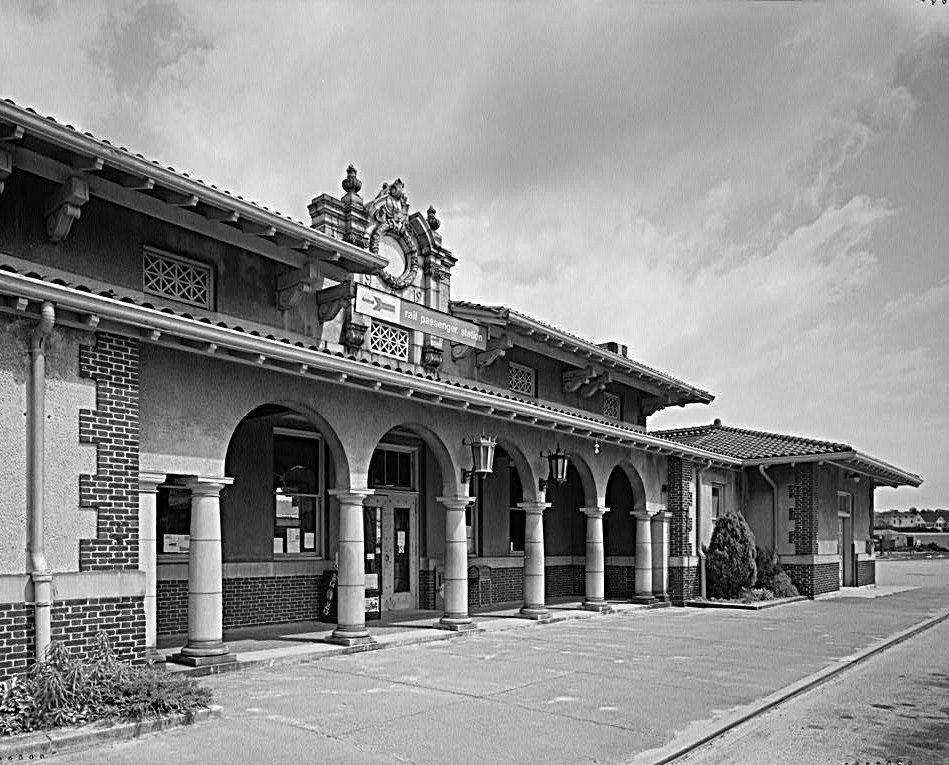 A Mission Revival railroad station in  Rhode Island